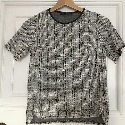 Older Girls /ladies Black And White Check Short Sleeve Top. Size 6