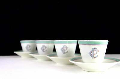 Antique French Monogrammed Coffee Cups and Saucers, Brulot Bistro Style