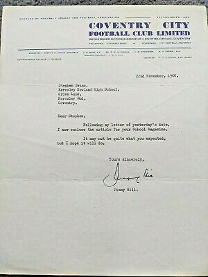 1966 Coventry City Football Club Letter Signed By Jimmy Hill