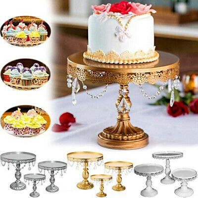 Crystal Round Cake Stand Display Dessert Holder Wedding Party Decor with Crystal