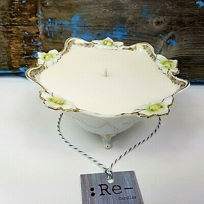 Antique RS Prussia Germany Footed Bowl Porcelain Gold Gilt Green Floral Candle