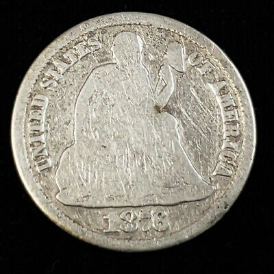 1876 CC US Seated Liberty Silver Dime .10c Ten Cent Key Date! Rare Coin 2SLD7613