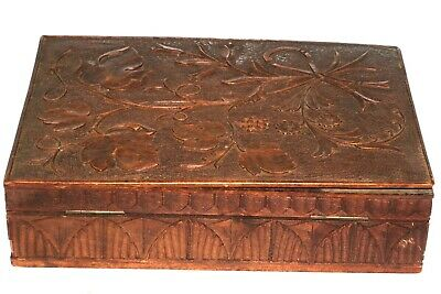 Antique Geneve F. Bruel Carved Wood Box Black Forest Lock w Key