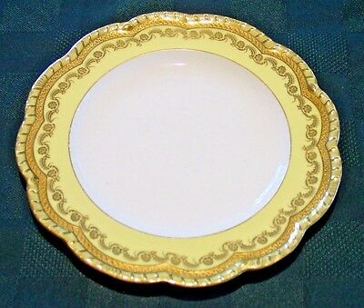 Yellow Antique Gilman Collamore Dinner Plate with Raised Gilt Gold - SET of 4