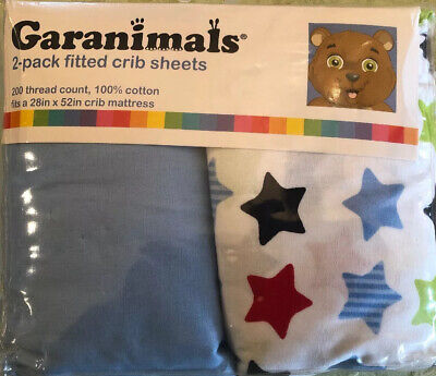 NEW Garanimals 2-PACK Fitted Crib Sheets 200 Thread 100% Cotton