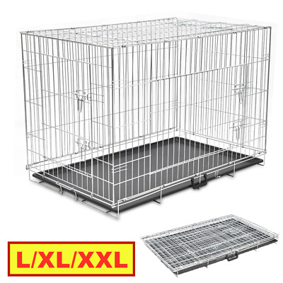 Pet Dog Puppy Cage Crate Carrier Large L XL XXL Metal Foldable Animal Transport