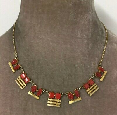 Vintage Jewellery Art Deco Machine Age Geometric Necklace With Glass Cabochons