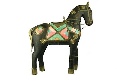 Antique Hand Carved Wooden Armored Horse Hammered Copper Brass Inlay art deco