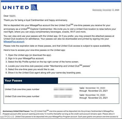 United Airlines UA Club Pass - A Pair - E-Delivery (Expires on 11/25/2020)