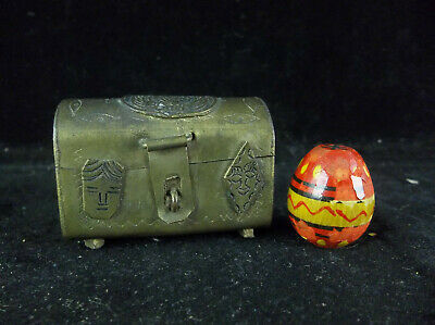 Vintage Antique Brass Ecuador Dollhouse Chest Travel Trinket With Wooden Egg