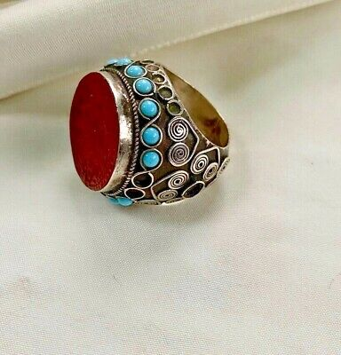 Islamic Mens Silver Signet Ring Wax Seal with Turquoise Stone Intricate Design