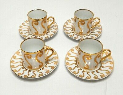 Set Of 4 Fine Porcelain Espresso Demitasse Gold Gilt Cup & Saucer