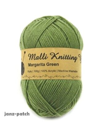 Malli 8ply Acrylic Knitting Crochet Yarn 100g - Margarita Green Machine Washable