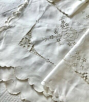 Beautiful Antique Linen Large Tablecloth, Hand-Embroidery Cutwork 7'+