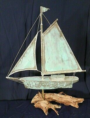 A Wonderful Early Or Mid Century Copper Sailboat Weathervane