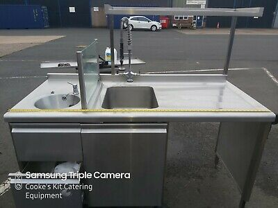 Excellent Stainless Steel Double Sink Unit With Divider Wash Down Cupboard 170Cm