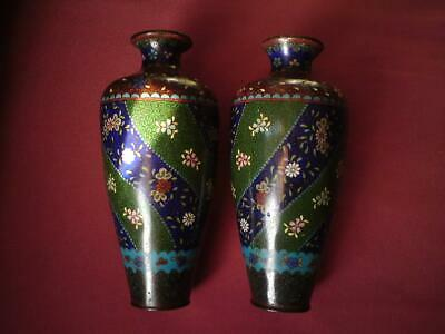 Pair Japanese Meiji Cloisonne Aesthetic Movement Decorative enamel copper vase