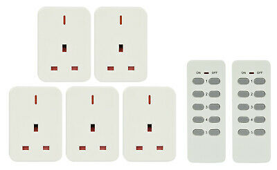 MERCURY Wireless Remote Control Mains Sockets - Set of 5 (2 remotes) NEW