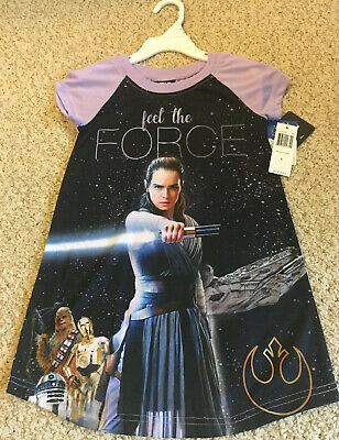 "NWT $36.00 GIRLS STAR WARS Night Shirt ""Feel The Force"" Size 4"