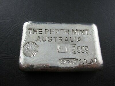 Vintage Silver Bar. 10.41 oz The Perth Mint - 10oz odd weight example - Type A