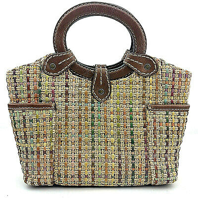 FOSSIL Ring Handles BASKET Straw Woven Tan Green Brown Leather STRUCTURE Handbag