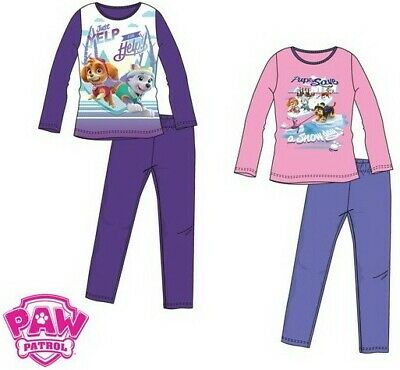 Paw Patrol Girls Skye & Everest Pink / Purple Long Sleeve Pyjamas PJs 3 6 years