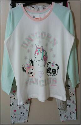 New M&S Girls Emoji 'Unicorn Fan Club' Aqua Mix Cotton Rich Pyjamas 15-16 Years