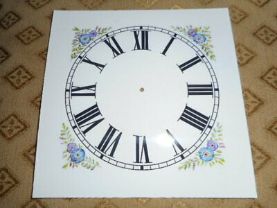 Mantle/Shelf Paper (Card) Clock Dial - 143mm  M/T - Roman-Flower - Parts/Spares