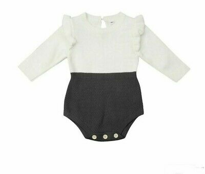 Wool Knitted Kids Baby Girl Cotton Romper Jumpsuit Outfits Solid Long Sleeve New