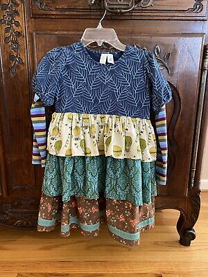 Girls Matilda Jane 2013 Paint By Numbers Quiet Green Tiered Dress Size 8