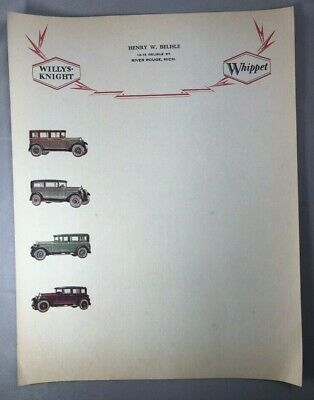 1920s WILLYS KNIGHT Auto Motor Car WHIPPET Letterhead River Rouge Michigan ANTQE