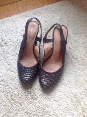 BNWOB LADIES MARKS AND SPENCERS BLACK SLINGBACK HEEL SHOES EXTRA WIDE FITTING