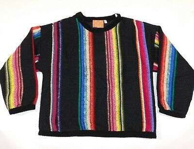 Vintage ALLEN WAH Native American Tradition Colorful MADE IN USA Sweater Mens L
