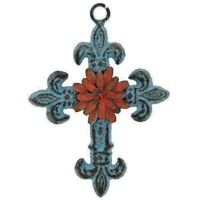 Blue Fleur-De-Lis Metal Cross Wall Decor Tuscan Brown Rustic Decorative