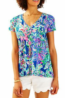 Lilly Pulitzer WHAT A LOVELY PLACE ETTA TOP Easy Fit V-Neck Cotton Tee S M NWT
