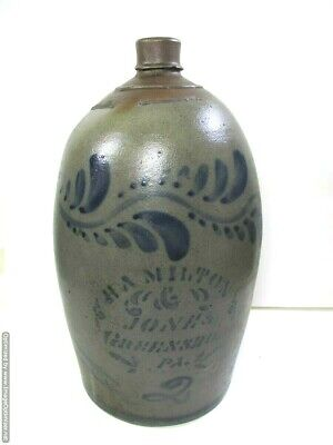 "Antique Hamilton & Jones Greensboro PA. 14 1/2"" Stoneware Crock  #2 Jug 1800's"