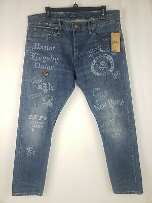 Polo Ralph Lauren Varsity P Tiger Sullivan Slim Mens Denim Jeans Limited  34-30