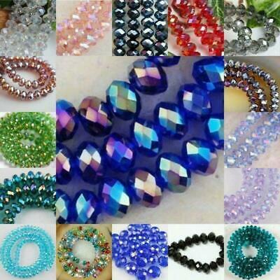 DIY Faceted Rondelle Bicone Glass Crystals Jewelley Beads 4mm 6mm 8MM 2020