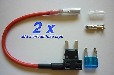 2 x Add-A-Circuit Fuse TAP Adapter Mini ATM APM Blade Fuse Holder For Car 12V
