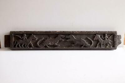 Old Vintage Wooden Hand Carved Tribal Man Animals Figure Decorative Wall Panel