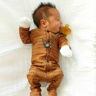 Striped Brown Rompers Baby Girls Boys Kid Clothes Cotton Unisex Newborn Costume
