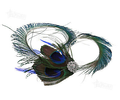 1920's Vintage Peacock Feather Fascinator Wedding Hair Clip Dance Party Jewelry