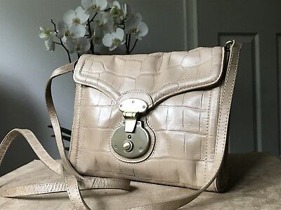 Autograph by M&S genuine leather beige sand shoulder cross body bag VGC