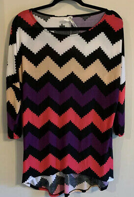 Moa Womens Jersey Knit Zig Zag High Low Tunic Dolman Shirt Top Sz M Made in USA