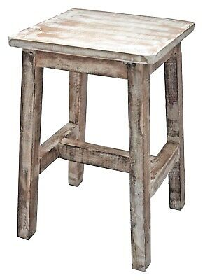 Stool Side Table 45 cm Solid Teak Wood Plant Stand Decor White Shabby