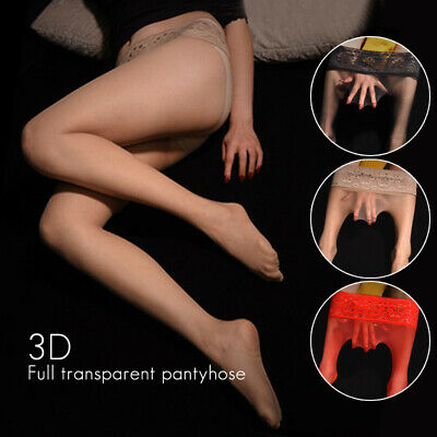 Women Sexy Elastic Lace Socks Footed Pantyhose Stockings See-through Ultra-thin