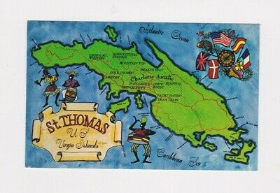VINTAGE ST. THOMAS, U.s. Virgin Islands Map Postcard Rppc ...