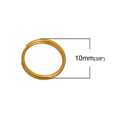 100pcs 8mm gold plated GP double loop open jump split rings jewellery findings