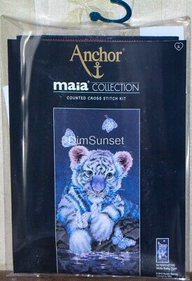 Anchor Maia Counted Cross Stitch Kit White Baby Tiger 5678000-01165