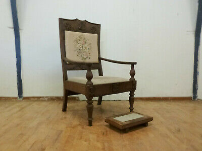 DK126 Antique Carved Oak High-Backed Lounge Chair with Footstool Furniture